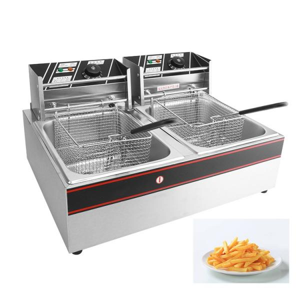 2*12L Two Jars Commercial Stainless Steel Electric Chicken Donut Fish Fryer Potato Chips Deep Fryer #1 image